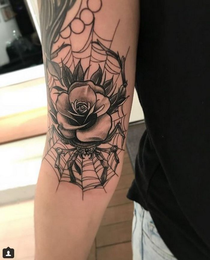 Rose On A Spider With Its Web Tattoo Designs 2018 2019 Ideas And Designs