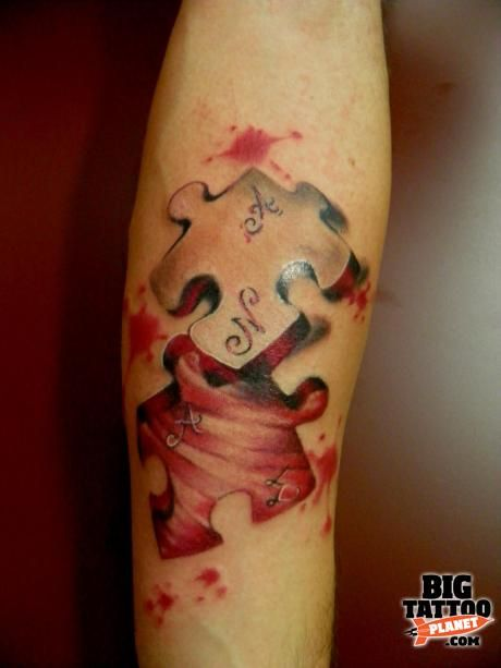 3D Puzzle Piece Colour Tattoo Big Tattoo Planet Ideas And Designs