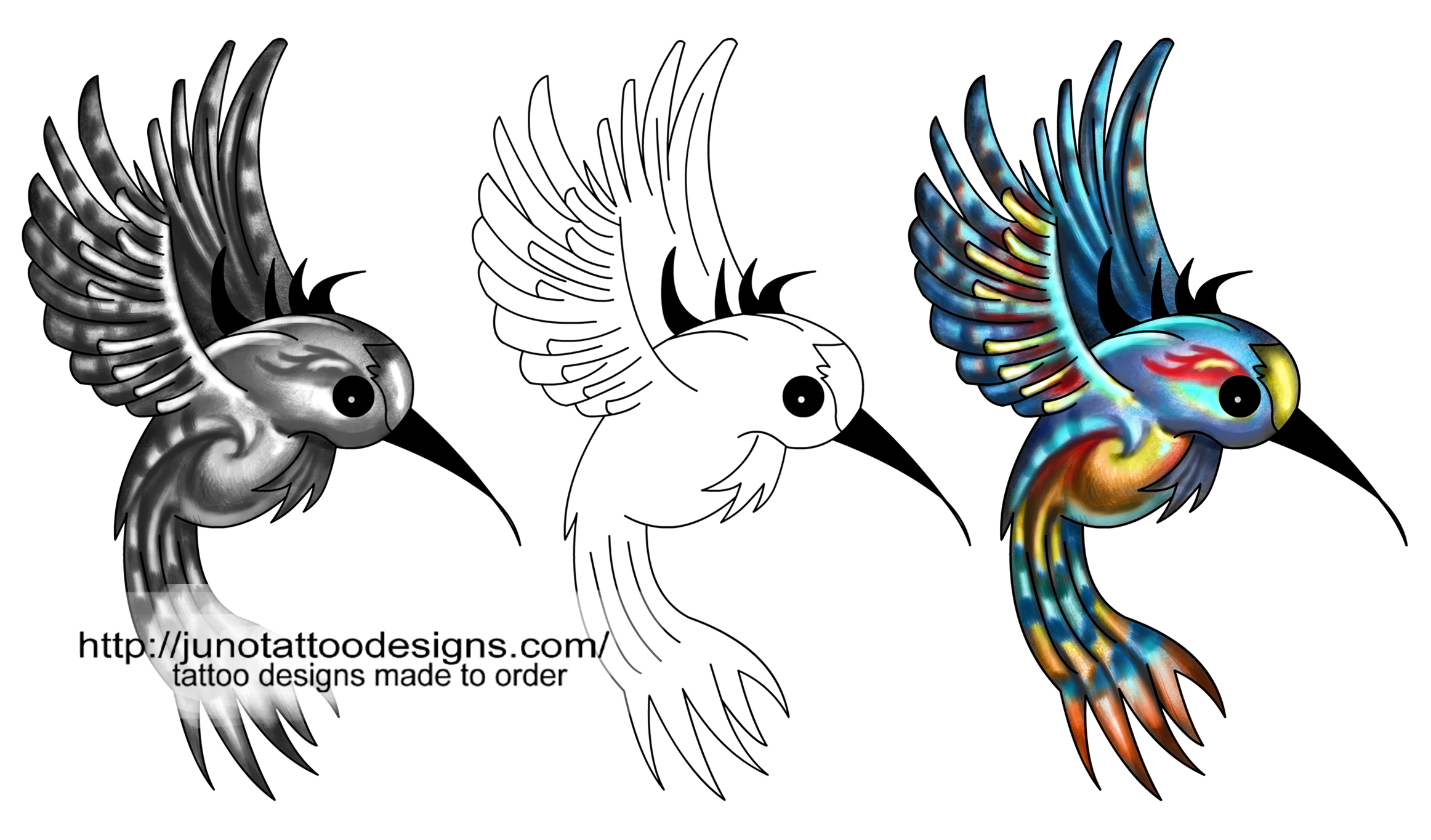 Flowers And Birds Custom Tattoos Made To Order By Juno Ideas And Designs