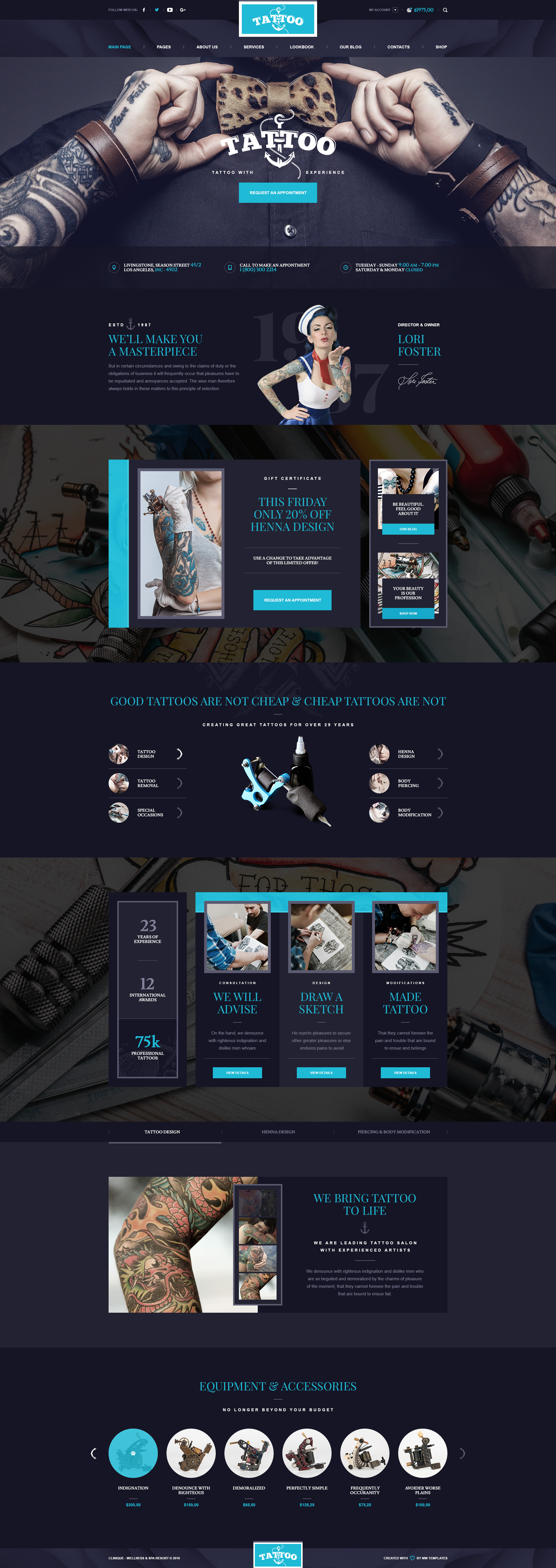Ink Arts Tattoo Salon Psd Template Psd Templates Ideas And Designs