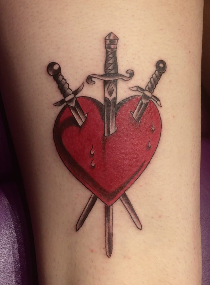 3 Of Swords Tattoo On Back Of Thigh By Gauge Yelp Ideas And Designs