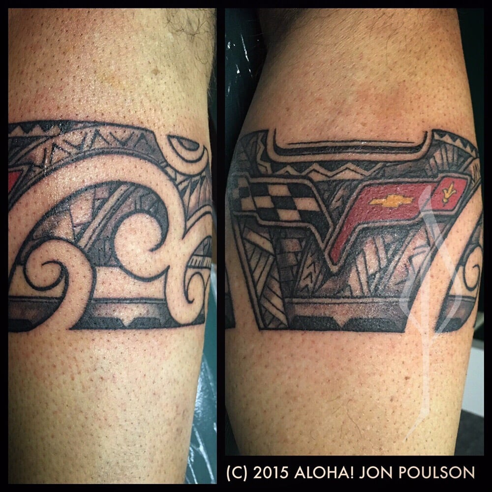 Freehand Polynesian Tribal With Corvette Logo Tattoo By Ideas And Designs