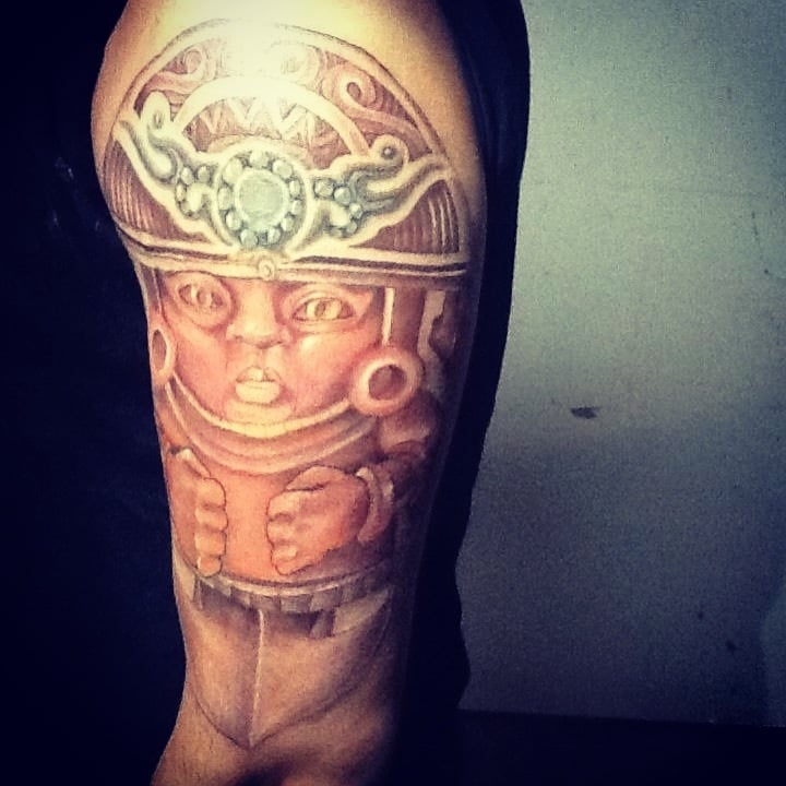 Peruvian Statue Tattoo Add On To Existing Tribal By Tyrone Ideas And Designs