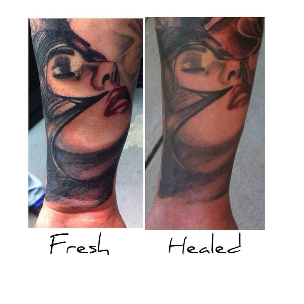 Fresh Tattoo And Same Tattoo One Year Later Fully Healed Ideas And Designs