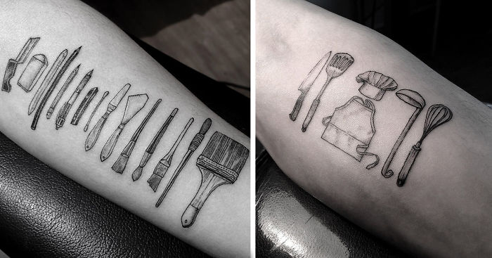 Artist Tattoos Tools Of People's Professions On Their Skin Ideas And Designs