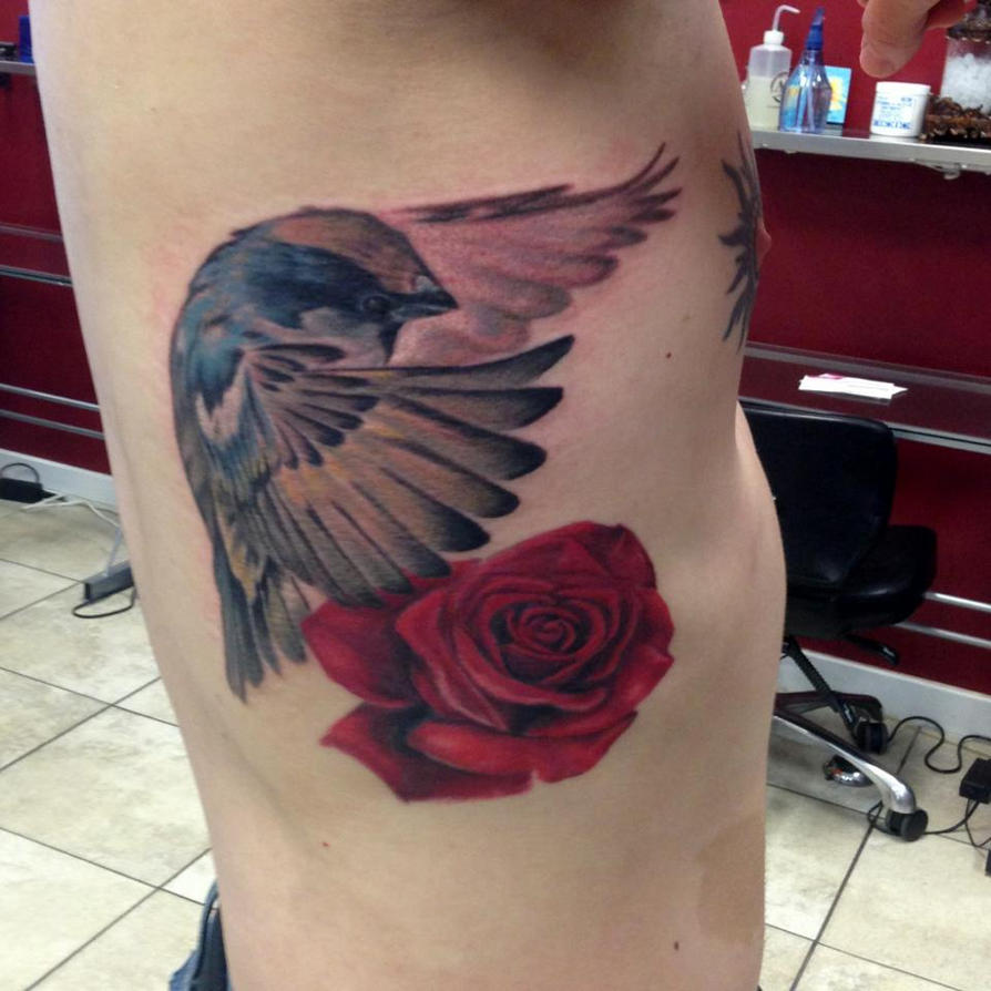 Bird And Rose Tattoo By Mike Ashworth By Ideas And Designs