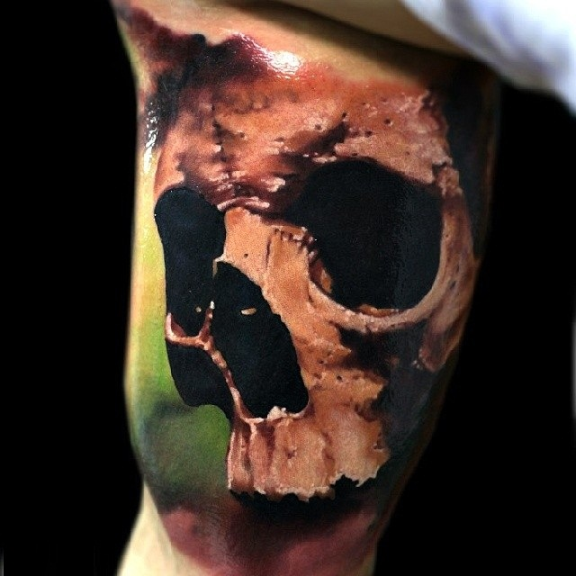 Awesome Realistic 3D Skull Tattoo Design Idea Made By Oleg Ideas And Designs