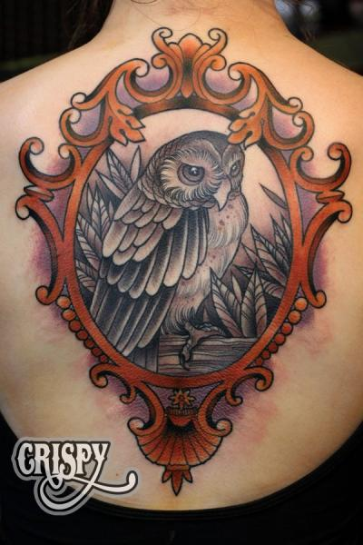 New School Back Owl Medallion Tattoo By Third Eye Tattoo Ideas And Designs