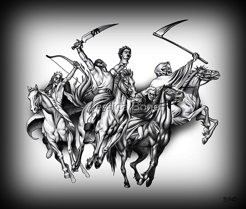 Four Horseman Of The Apocalypse By Jessica Bone Redbubble Ideas And Designs