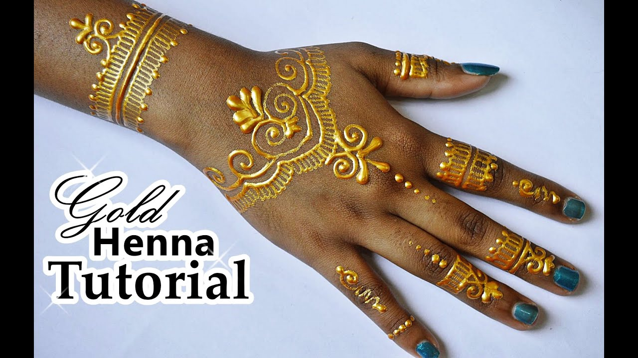 Diy How To Apply Gold Henna Body Paint Temporary Tattoo Ideas And Designs