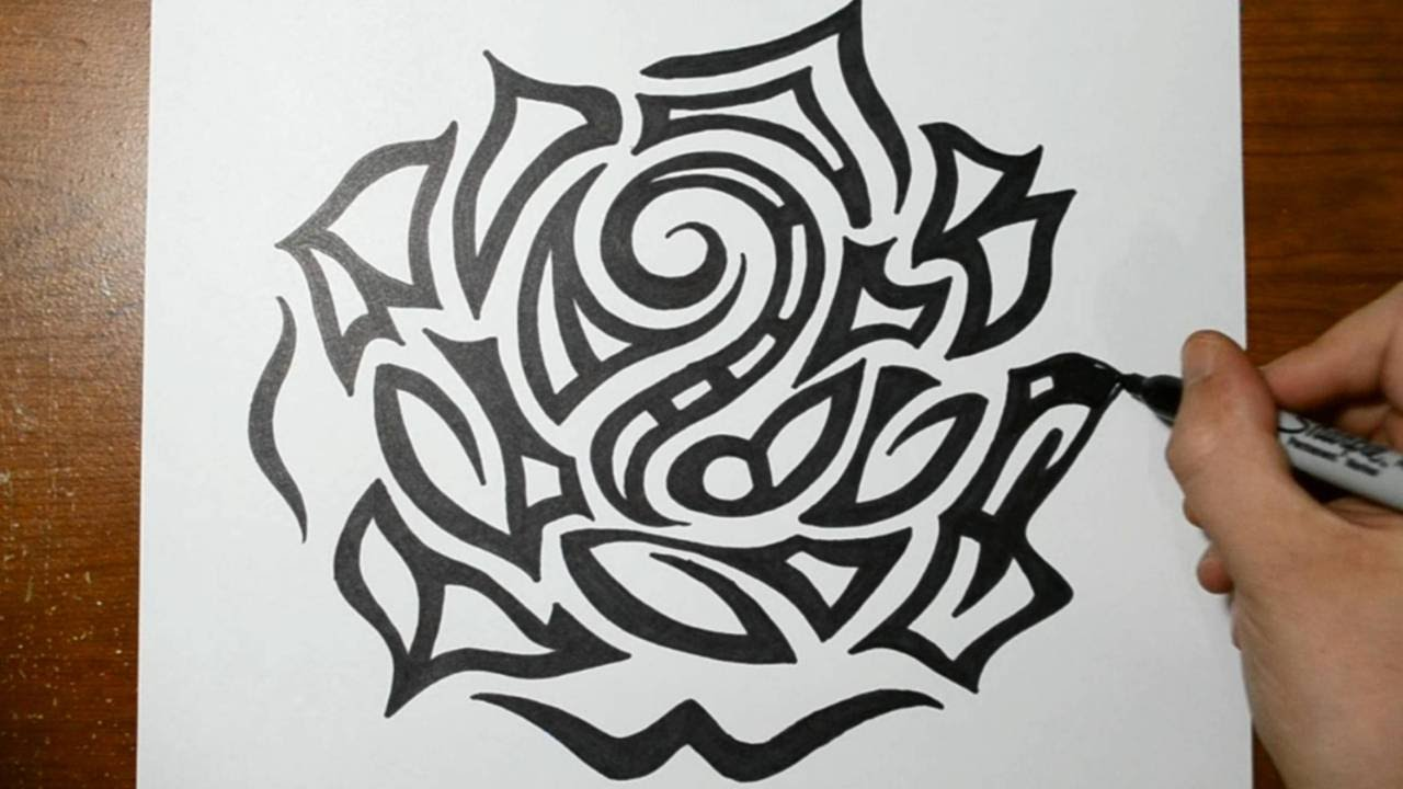 Drawing A Large Detailed Tribal Rose Head Tattoo Design Ideas And Designs