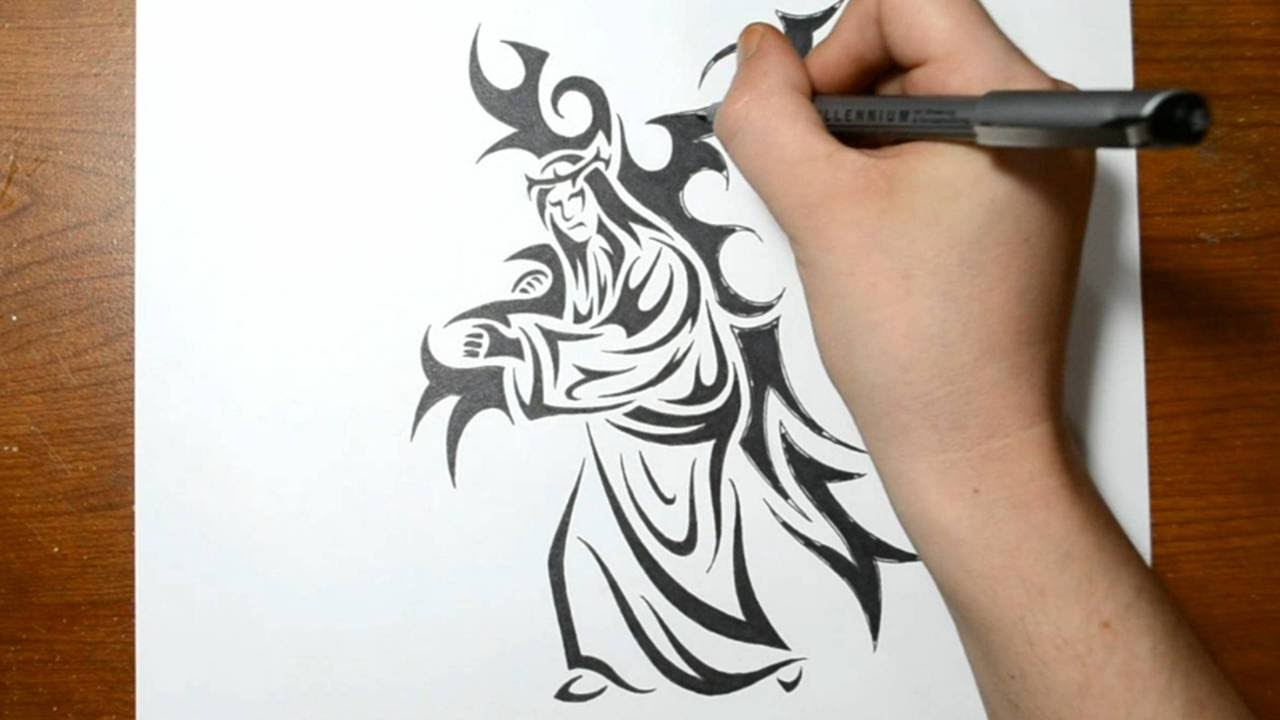 Drawing Jesus Carrying The Cross Tribal Art Tattoo Ideas And Designs