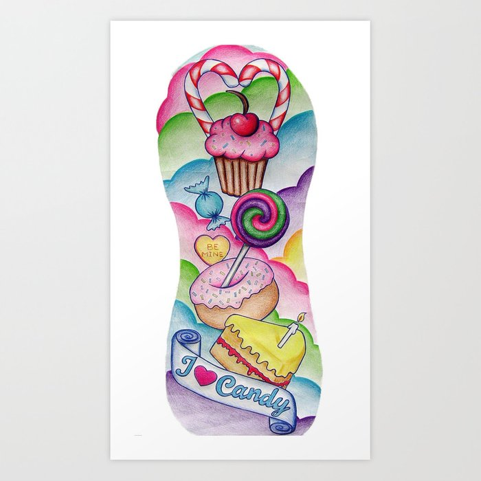 Candy Tattoo Sleeve Art Print By Cat Caffrey Society6 Ideas And Designs