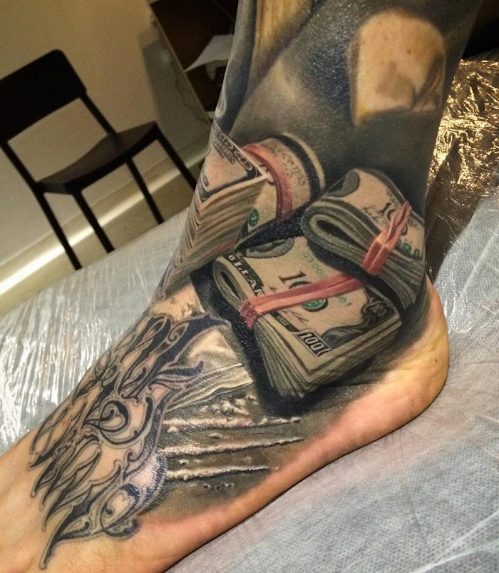 Cash Ankle 100 Dollar Bills Best Tattoo Design Ideas Ideas And Designs