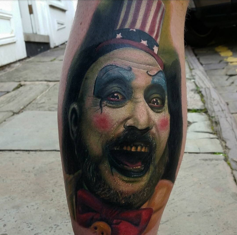 Captain Spaulding On Guy S Calf Best Tattoo Design Ideas Ideas And Designs
