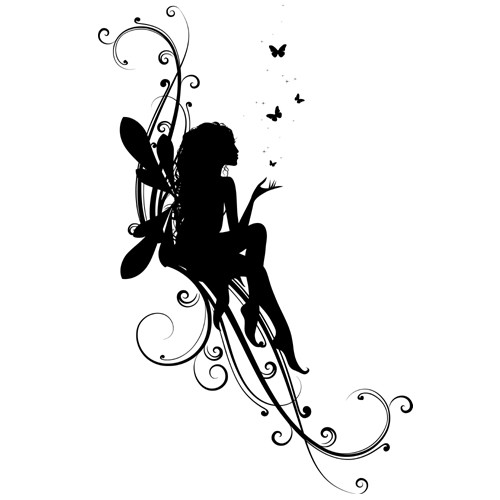 Nice Black Fairy Silhouette With Flying Butterflies Tattoo Ideas And Designs