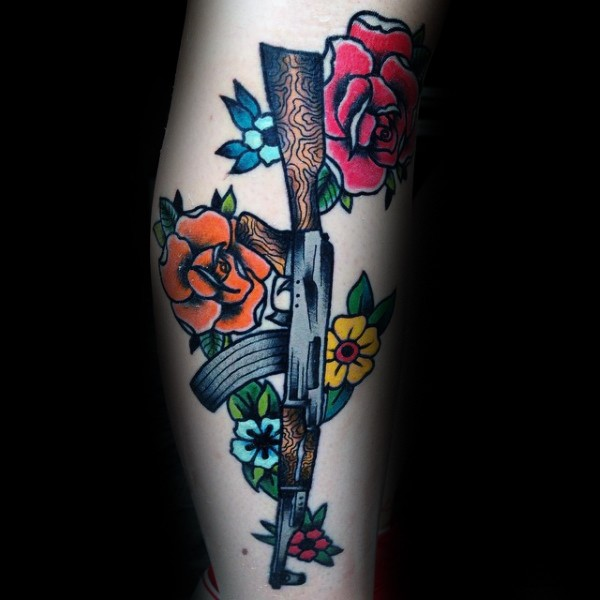 Cartoon Style Colored Tattoo Of Various Flowers And Ak Ideas And Designs
