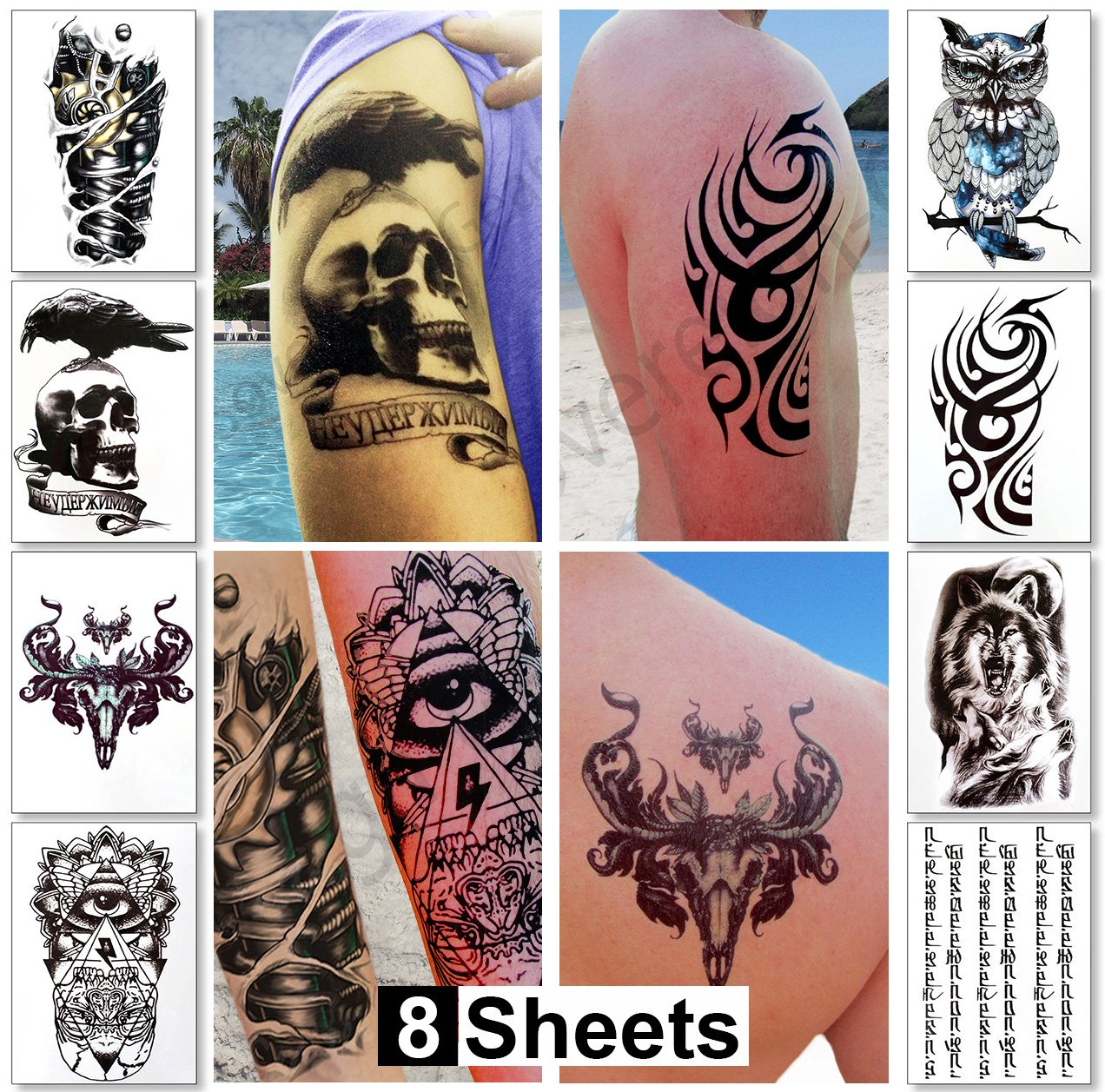 Amazon Com Large Temporary Transfer Tattoos Stickers For Ideas And Designs
