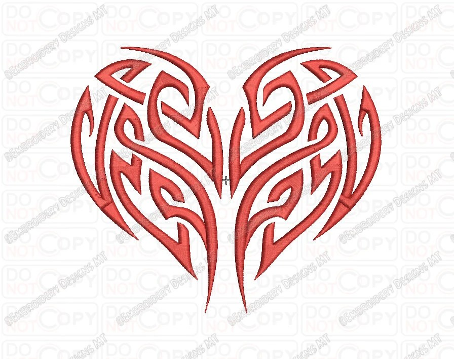 Heart Tribal Tattoo Embroidery Design In 2X2 3X3 4X4 And 5X7 Ideas And Designs