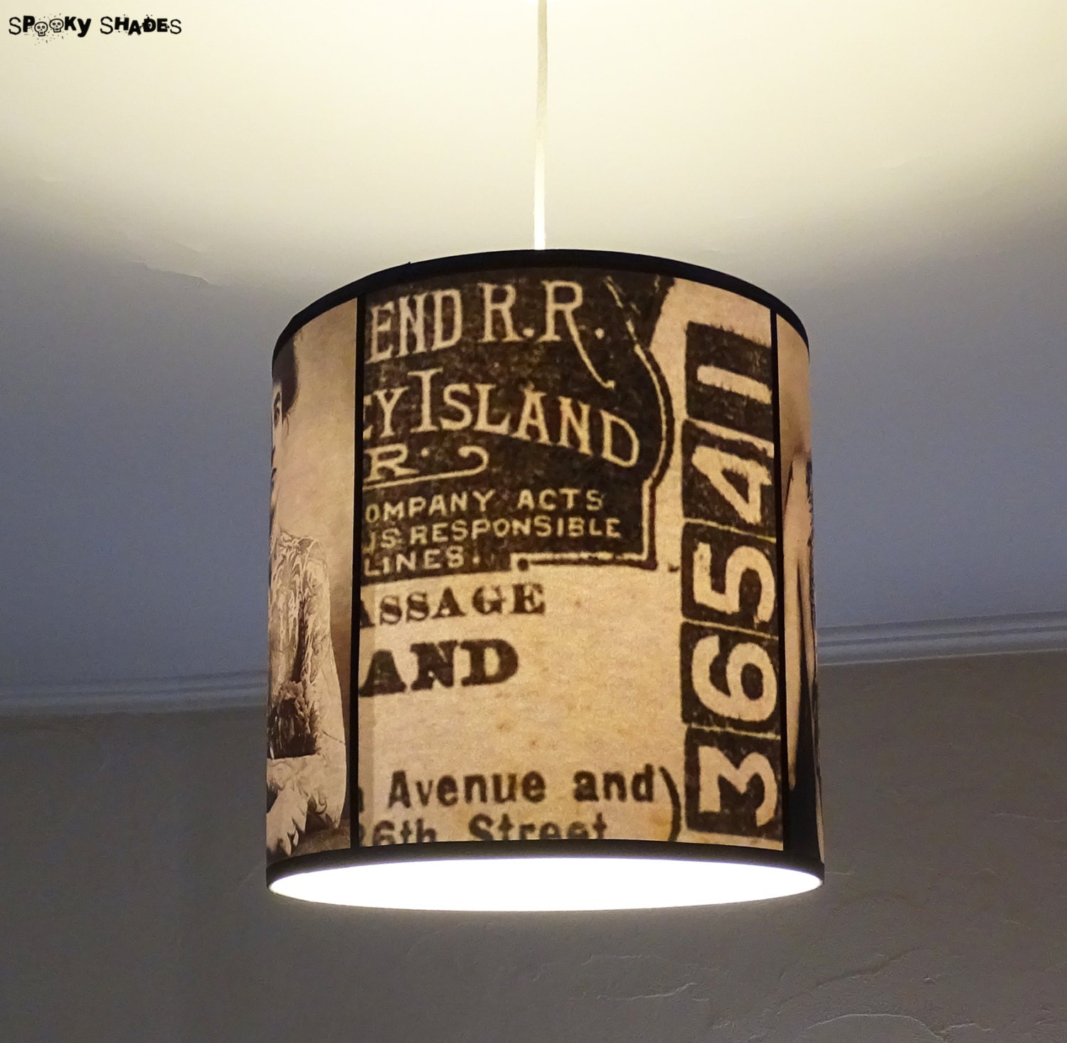 Vintage Tattoos Hanging Lamp Shade Lampshade By Spookyshades Ideas And Designs