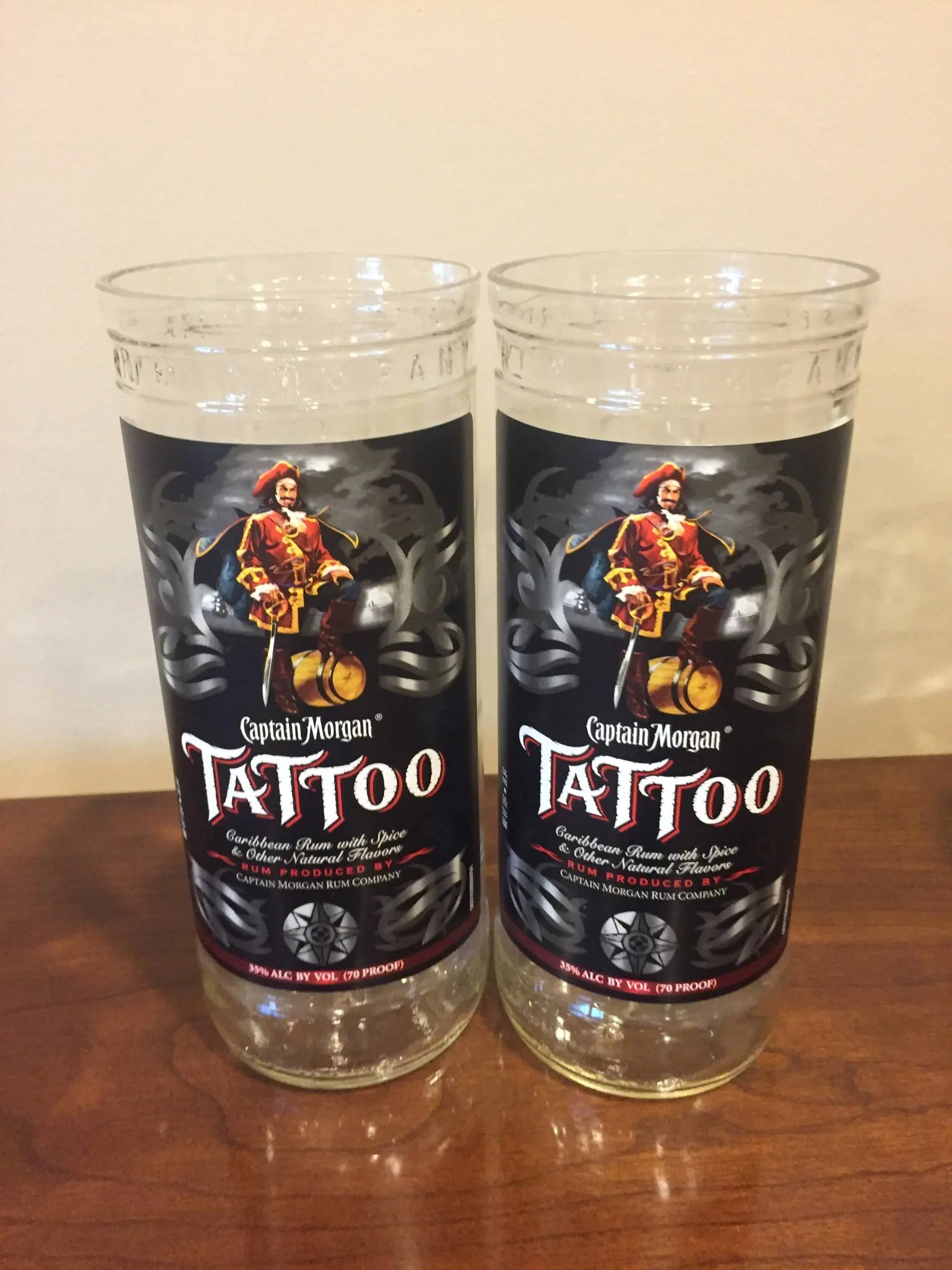 Captain Morgan Tattoo Cut R*M Bottle Drinking Glasses Set Of Ideas And Designs
