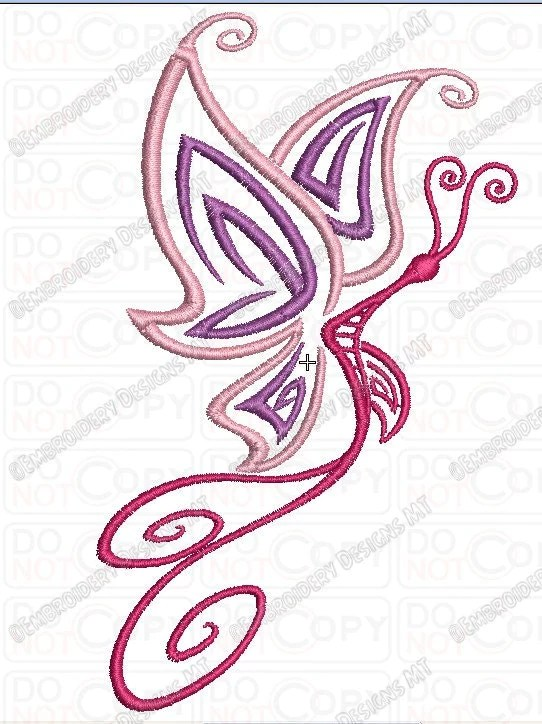 Butterfly Tattoo Style Embroidery Design In 4X4 And 5X7 Sizes Ideas And Designs