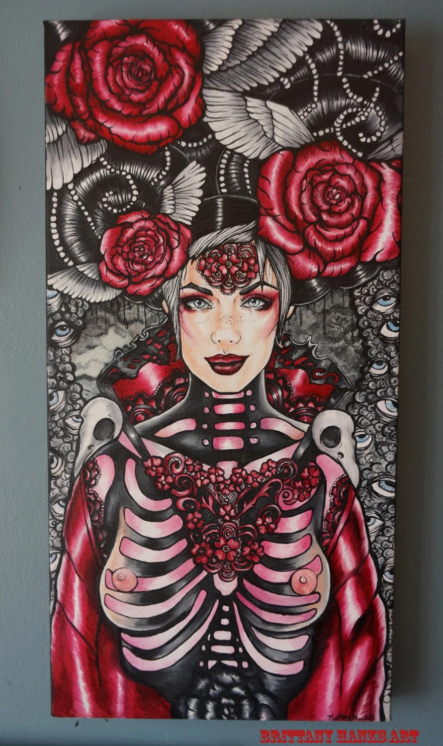Original Oil Painting Gothic Lowbrow Tattoo Art Home Decor Ideas And Designs