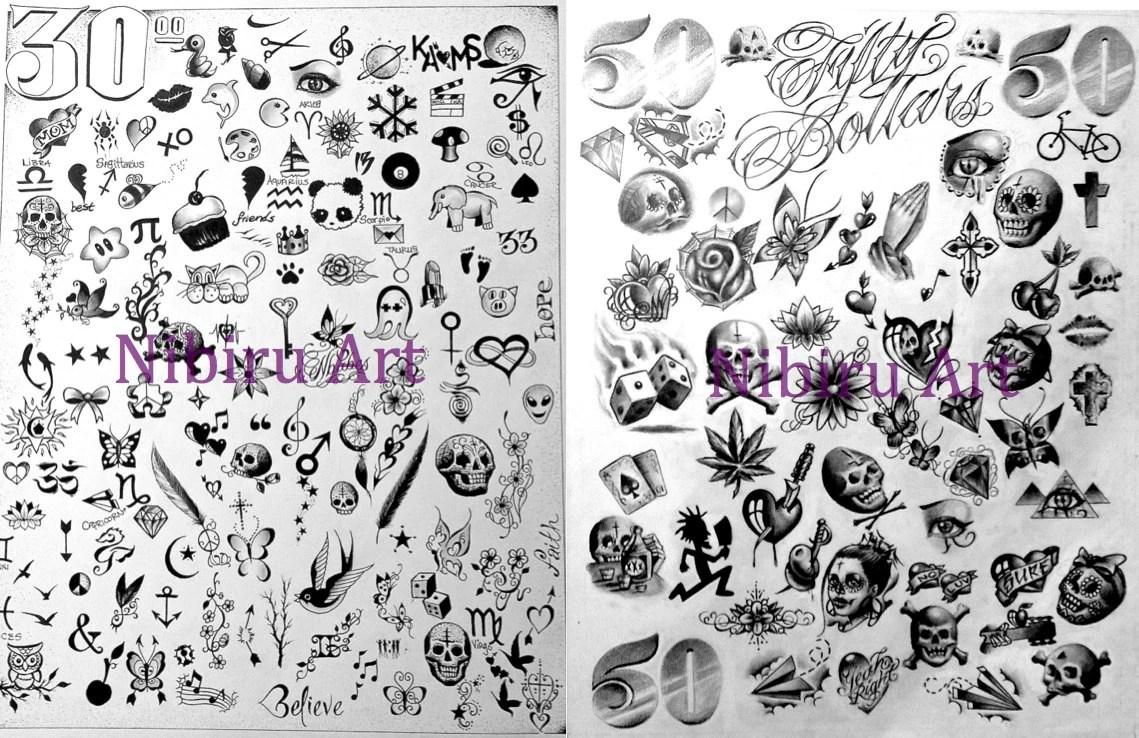 Tattoo Posters 30 Or 50 Dollar Tattoo Flash Sheet By Khemangel Ideas And Designs