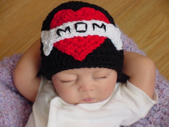 Heart Tattoo Hat Newborn To 3 Month 3 To 6 Month By Ideas And Designs