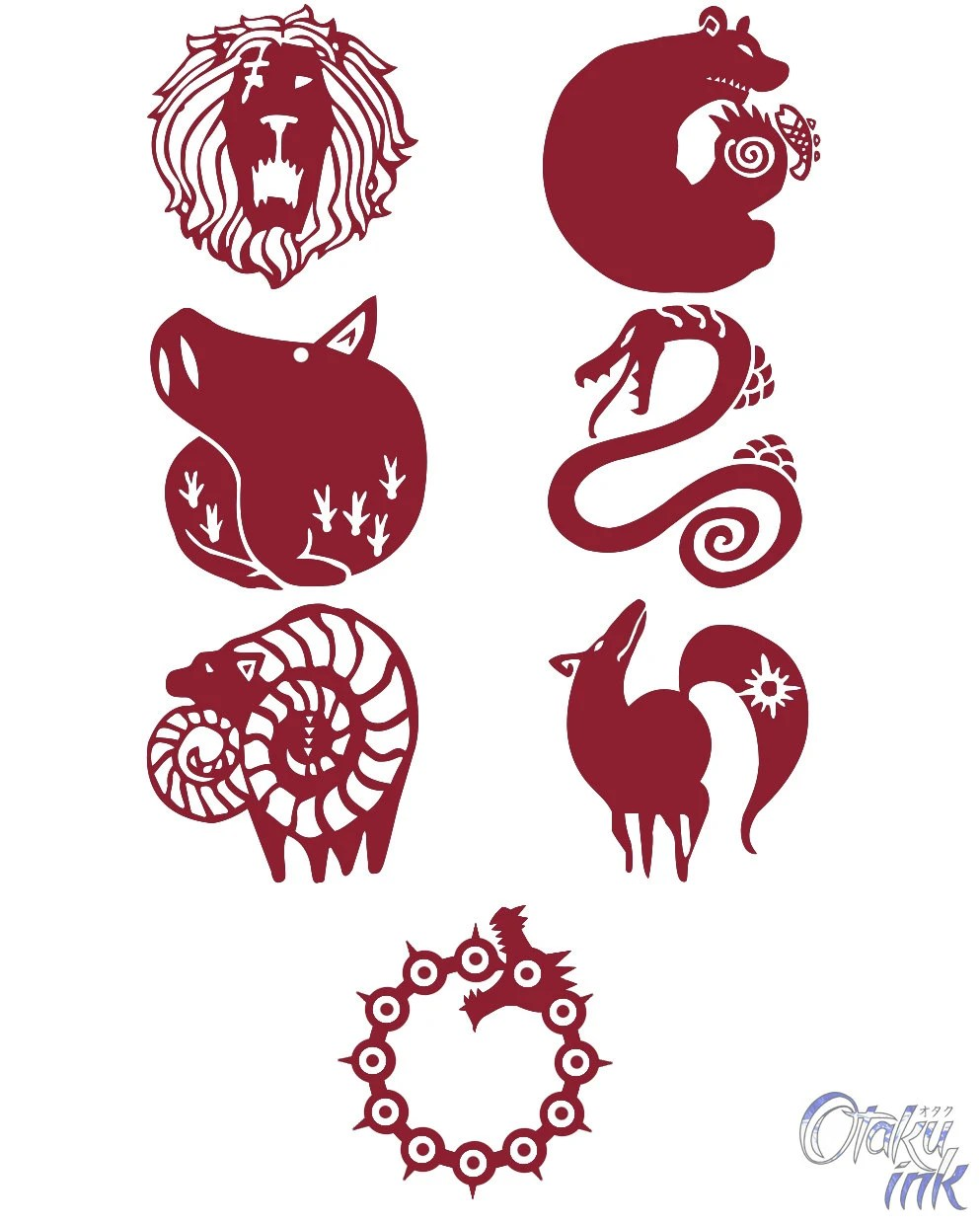 The Seven Deadly Sins Cosplay Temporary Tattoos By Otaku Ink Ideas And Designs