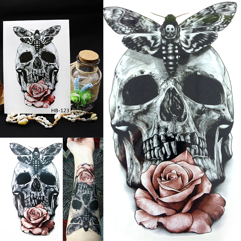 3D Temporary Tattoos Red Rose Skull Body Art Tattoo Ideas And Designs