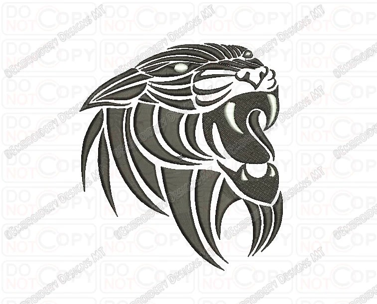 Tiger 2 Outline Tribal Embroidery Design In 3X3 4X4 And Ideas And Designs