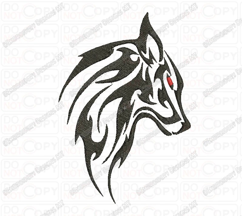 Wolf Tribal Tattoo Embroidery Design In 3X3 4X4 And 5X7 Ideas And Designs