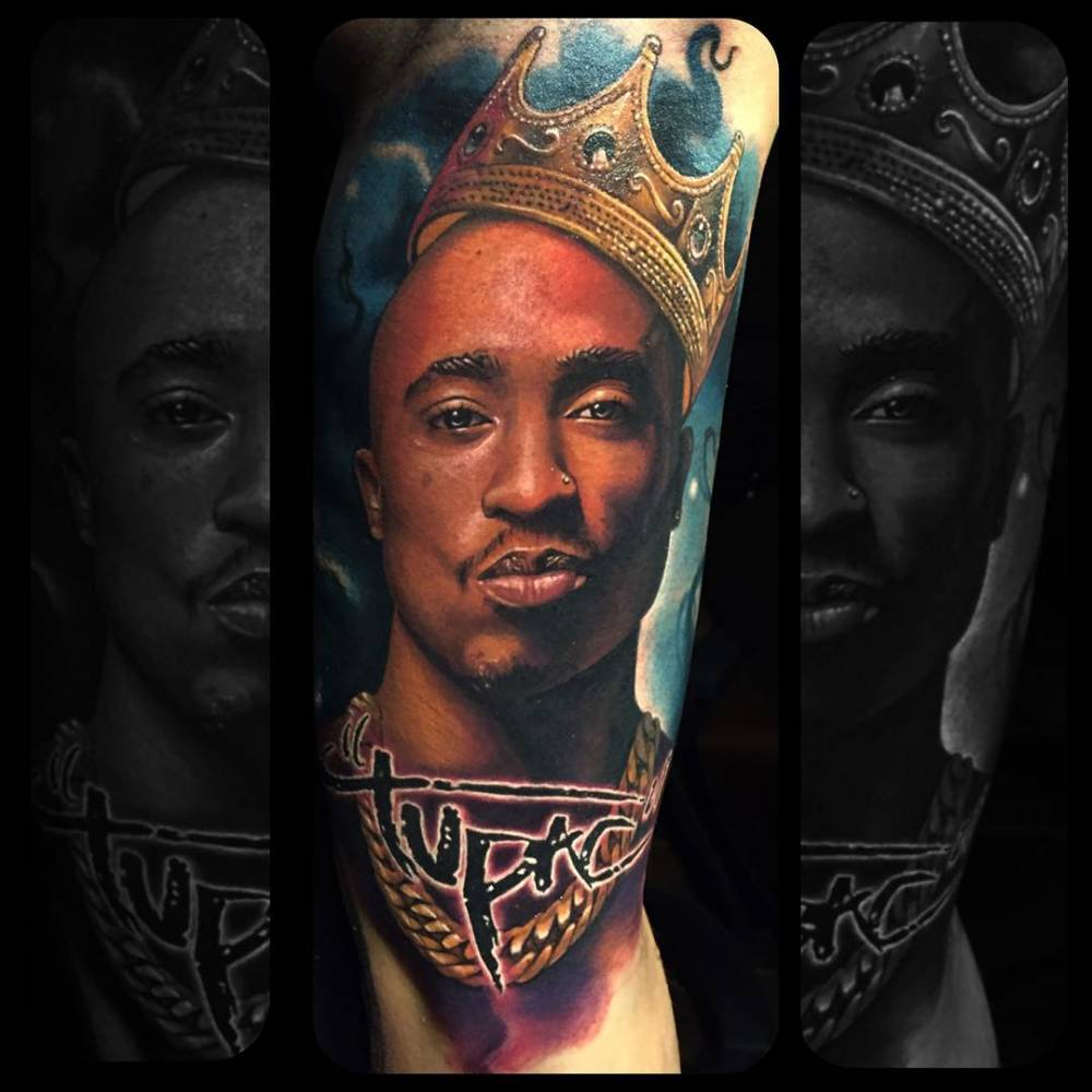 Realistic Tupac Portrait Tattoo On The Right Upper Arm Ideas And Designs
