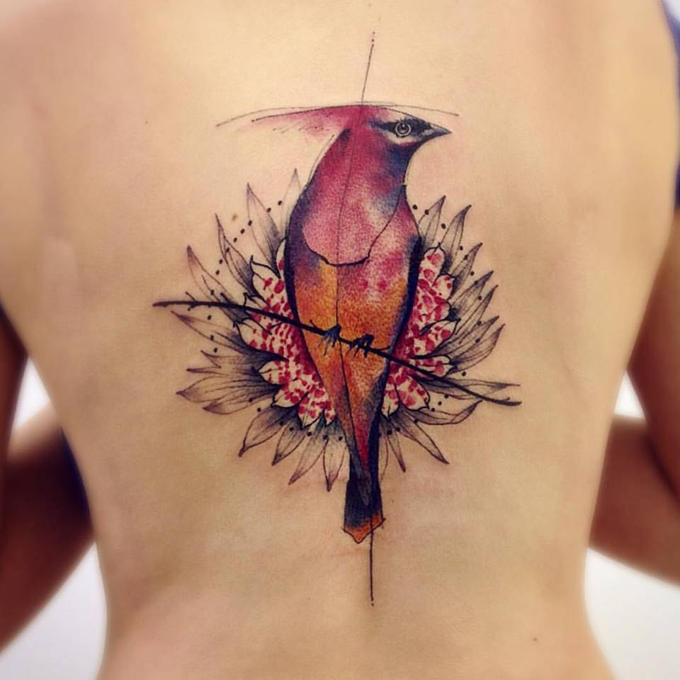 Sketch Work Style Northern Cardinal Tattoo On The Back Ideas And Designs