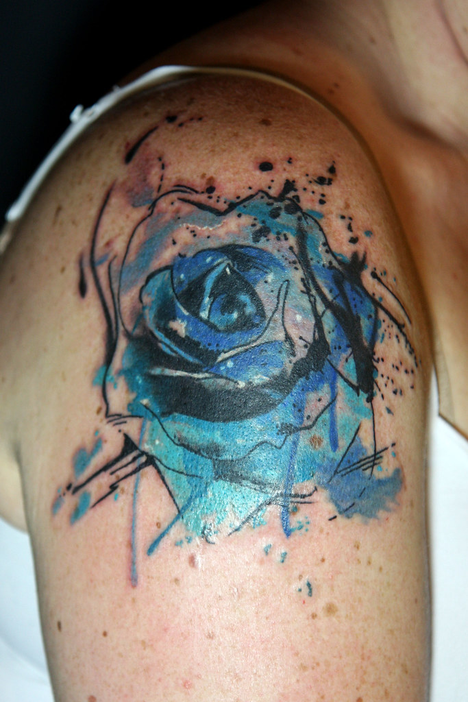 Abstract Watercolor Blue Rose Tattoo Deanna Wardin Flickr Ideas And Designs