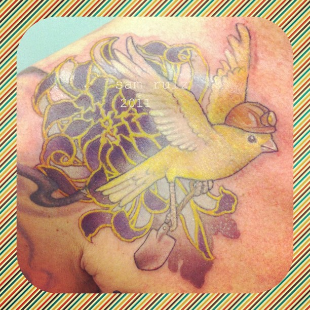 Purple Chrysanthemum With Miner Canary Happy Days Tatto Ideas And Designs
