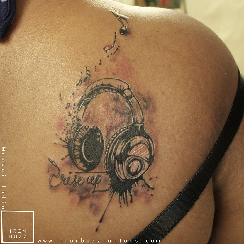 Headphones Music Notes Rise Up Trash Polla On Shoulder Tat Ideas And Designs