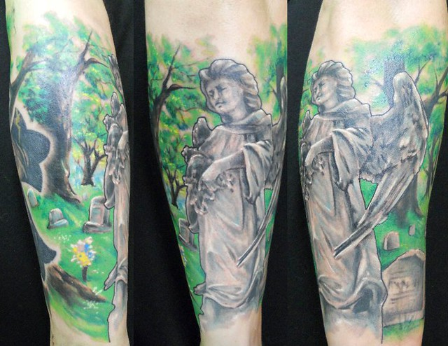 Angel Statue Cemetery Tattoo By Jackie Rabbit Flickr Ideas And Designs