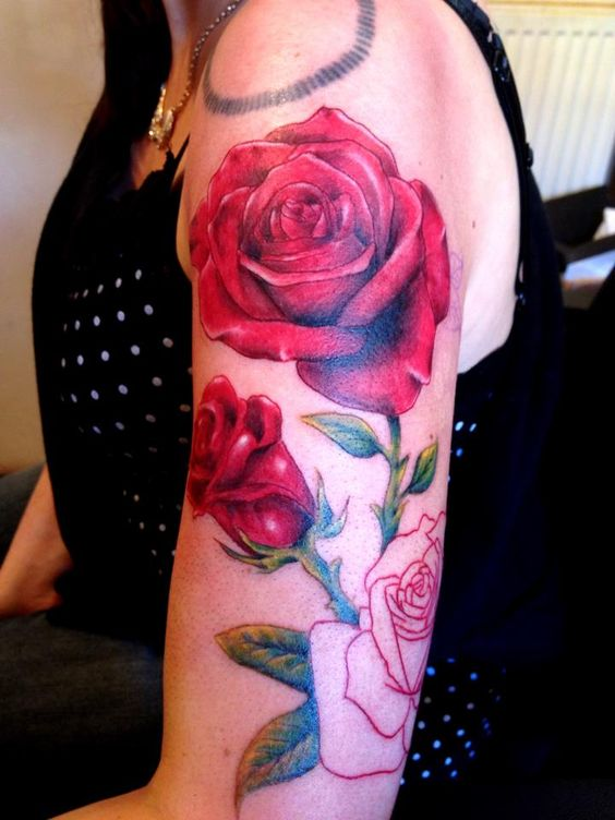 Realistic Rose Half Sleeve Tattoo Beautiful Detail And Ideas And Designs