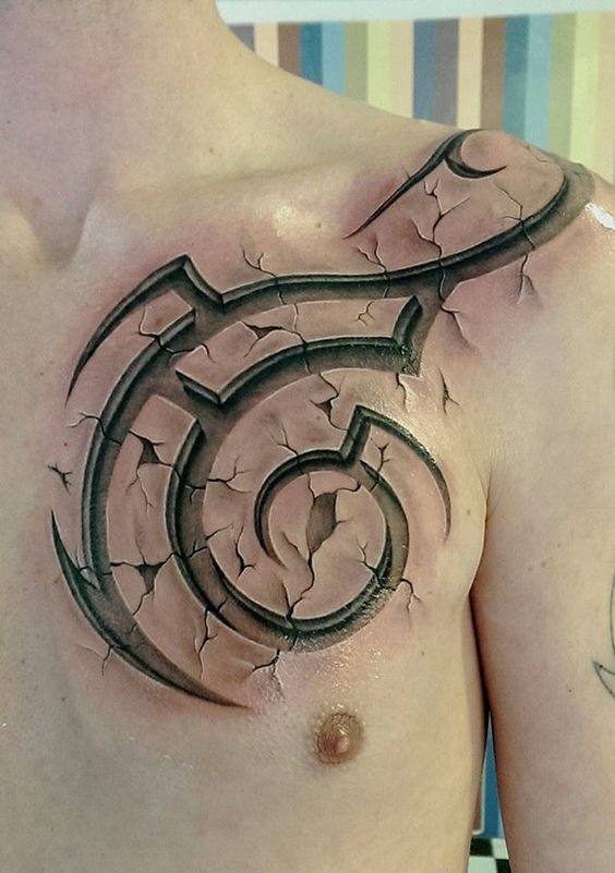 3D Tribal Chest Tattoo Best Tattoo Ideas Designs Ideas And Designs
