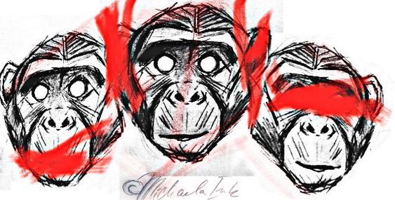 Trash Polka 3 Wise Monkey Tattoo Design ©Michaela Ink Ideas And Designs