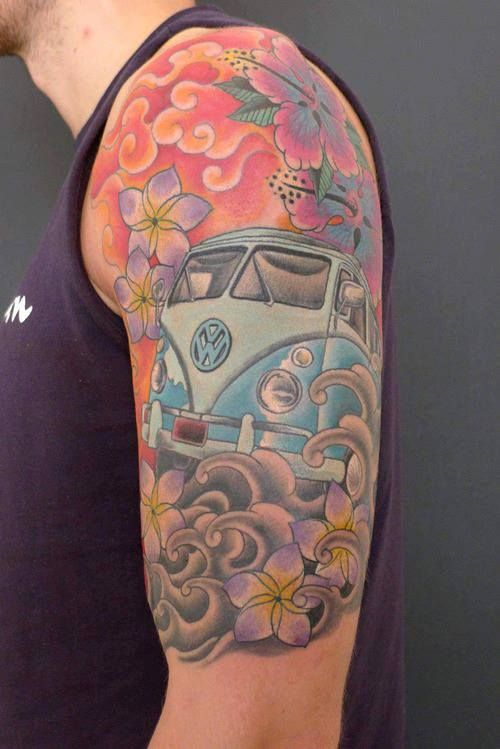 Arm Tattoo Vw Bus And Buses On Pinterest Ideas And Designs