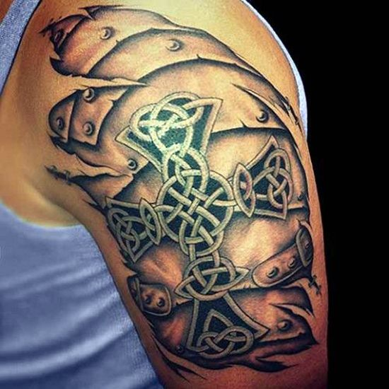 3D Cross Tattoo For Men Shoulder For More Visit Http Ideas And Designs