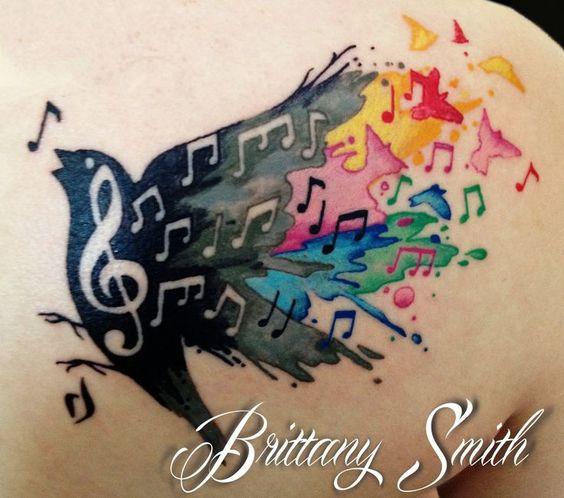 Watercolor Music Tattoos Music Note Bird Watercolor Ideas And Designs