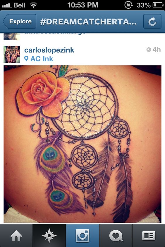 Dream Catcher Tattoo Diff Feathers Yellow Rose Ideas And Designs