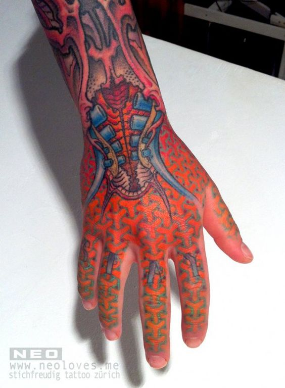 Geometric Biometric Red Hand Tattoo Tattz Pinterest Ideas And Designs