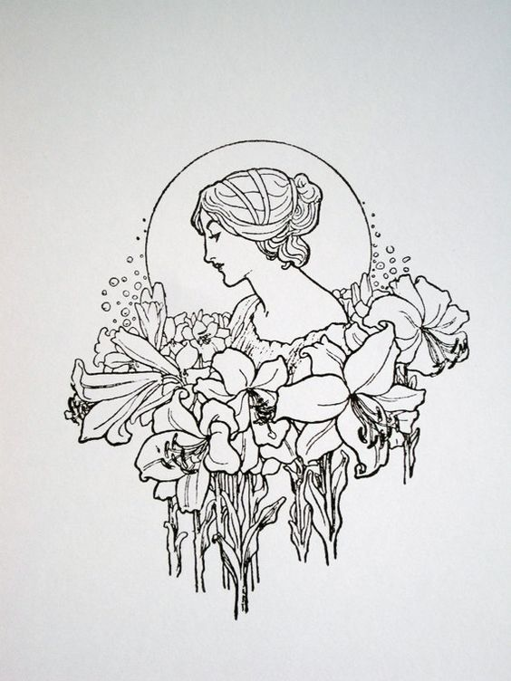 Art Nouveau Lady With Flower Garland Limited Edition Ideas And Designs