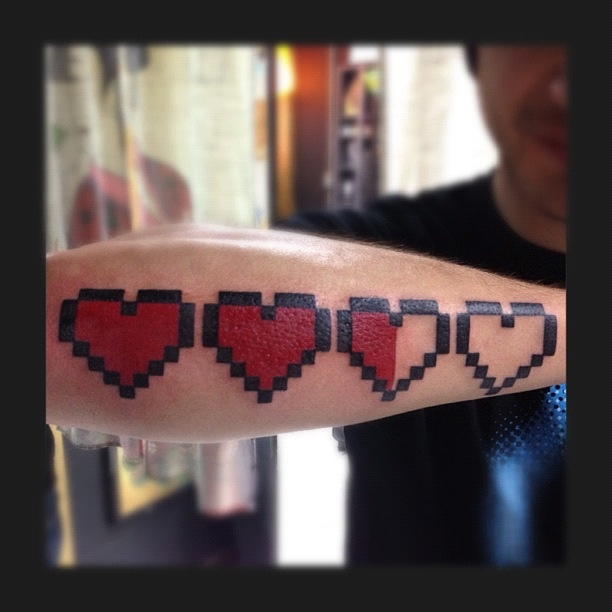 The Legend Of Zelda 8 Bit Heart Tattoo Done By Man Yao Ideas And Designs