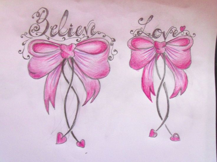 Cute Pink Bow Tattoo Believe Love Ideas And Designs